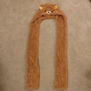 Rilakkuma hood scarf with gloves